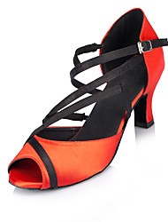 Non Customizable Women's Dance Shoes Flocking Flocking Salsa Sandals / Heels Cuban Heel Beginner / Indoor Red