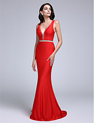 2017 Formal Evening Dress Sheath / Column V-neck Sweep / Brush Train Jersey with Beading