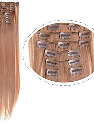 "Clip In Synthetic Hair Extensions 22"" 100g #27 Dark Blonde Color Long Blonde Hair 7pcs/set  Clip On Cheap Blonde Hair"