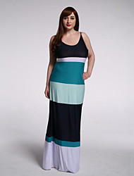 Women's Holiday / Plus Size Boho Swing Dress,Striped Strap Maxi Sleeveless Multi-color Polyester Summer
