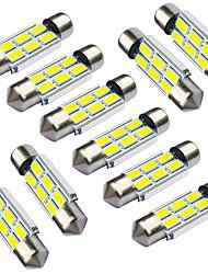 Jiawen 10pcs / lot feston 36mm 1.2w 6 x 5730 smd led blanche feux de signalisation de voiture (dc 12v)