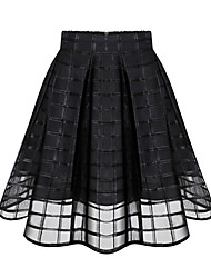 Women's Solid Pleated Black Skirts , Casual / Plus Sizes Knee-length