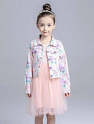 Girl's Multi-color Trench Coat,Patchwork Cotton / Rayon Spring / Fall