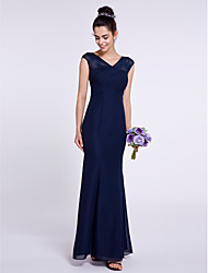 2017 Lanting Bride® Ankle-length Chiffon Bridesmaid Dress - Trumpet / Mermaid V-neck with Criss Cross