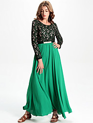 Women's Going out / Formal Boho Chiffon Dress,Print Round Neck Maxi Long Sleeve Green Others All Seasons