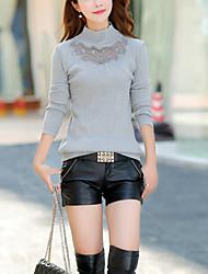 Normal Pullover Femme Sortie / Décontracté / Quotidien Mignon,Couleur Pleine Rouge / Noir / Gris Col Roulé Manches Longues CotonAutomne /