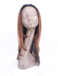 """оптового синтетической Glueless 26 """"длинные прямые кружева передние парики для красоты черных женщин смешивать ломбера цветные передний"""