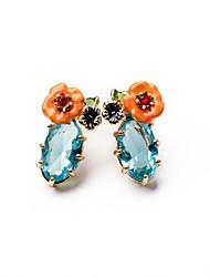 European Style Luxury Gem Geometric Earrrings Flower Stud Earrings for Women Fashion Jewelry Best Gift