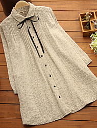 Maternity Shirt Collar Ruched Shirt,Cotton / Linen Long Sleeve