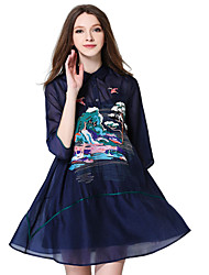 Women's Club Sexy Loose / Chiffon Dress,Embroidered Stand Above Knee ½ Length Sleeve Blue Cotton / Polyester Summer