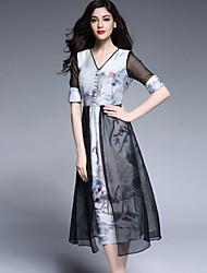 Viva Vena® Women's V Neck Short Sleeve Tea-length Dress-VA88123
