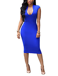 Women's Sexy Solid Sheath Dress,V Neck Knee-length Spandex