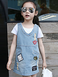 Girl's Cotton Spring/Summer/Fall Casual Style Labeling Cowboy Suspenders Skirt
