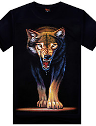 Men's Casual Printing Red Wolf Design Round Neck 3D Effect Loose T-shirt