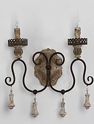 personnalité créative têtes doubles amercian bois industriel avec lampe murale en métal pour la lumière du mur décorer