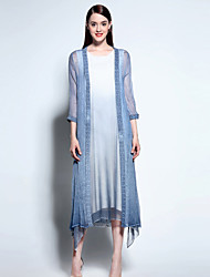 Boutique S Women's Going out Sophisticated Summer Jackets,Solid V Neck Long Sleeve Blue Rayon Sheer