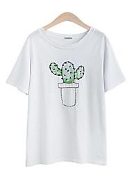 Damen Jacquard Einfach Lässig/Alltäglich T-shirt,Rundhalsausschnitt Sommer ½ Länge Ärmel Blau / Rosa / Weiß Baumwolle Mittel