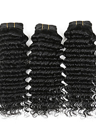 "4 Pcs/Lot 8""-26"" Indian Curly Remy Hair Weave Natural Black Deep Wave Cheap Human Hair Extensions 400G"