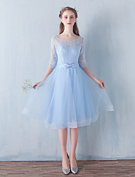 Cocktail Party Dress A-line Scoop Knee-length Lace / Tulle with Bow(s)