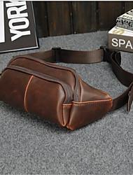 Masculino PVC Formal Bolsa de Cintura Marrom