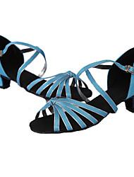 Women's Dance Shoes Leather Leather Latin / Dance Sneakers Heels Low Heel Indoor / Performance Brown / Customizable