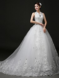 Ball Gown Wedding Dress Floral Lace Court Train Halter Lace Tulle with Appliques Beading