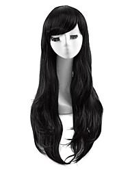 черный цвет косплей синтетические парики дешевые прямые парики модные парики