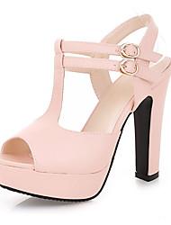 Women's Shoes Heel Heels / Peep Toe / Platform Sandals / Heels Outdoor / Dress / Casual Black / Pink / Almond/687