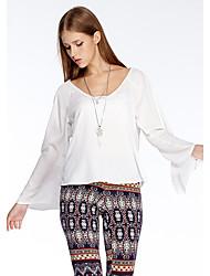 Herz Soul® Damen Rundhalsausschnitt Lange Ärmel T-Shirt Weiß-11AA24975