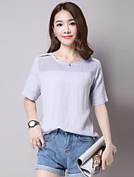 Damen Solide Einfach Lässig/Alltäglich T-shirt,Rundhalsausschnitt Sommer Kurzarm Weiß / Grau Baumwolle / Leinen Mittel