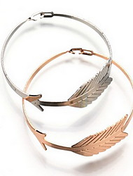 Alloy Leaf Natural Stone Gem Adjustable Cuff Bangle Bracelet