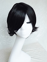 Cosplay Wig Colour Double Black Cartoon Characters Become Warped Wig 10 Inch
