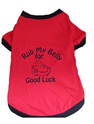 Cães Camiseta Vermelho Roupas para Cães Verão Carta e Número