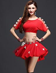 Dança do Ventre Roupa Mulheres Actuação Elastano Tule 3 Peças Manga Curta Natural Blusa Saia Calções