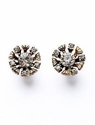 European Style Luxury Gem Geometric Earrrings Round Flower Stud Earrings for Women Fashion Jewelry Best Gift