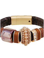 European Style Leather Wrap Magnet Bracelet