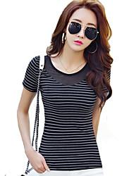 Damen Gestreift Sexy / Street Schick Ausgehen T-shirt,Rundhalsausschnitt Sommer Kurzarm Weiß / Schwarz Polyester Dünn