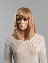 encantador meio natural, sem tampa reta cabelo humano peruca