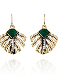 European Style Geometric Rhinestone Leaves Drop Earrings for Women Fashion Jewelry
