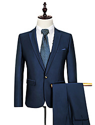 Suits Tailored Fit Notch Single Breasted One-button Cotton Solid 2 Pieces Straight Flapped None  None