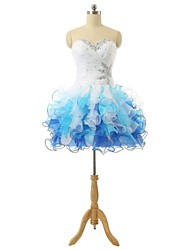 Cocktail Party Dress Ball Gown Sweetheart Short / Mini Organza with Beading / Sequins / Criss Cross / Bandage