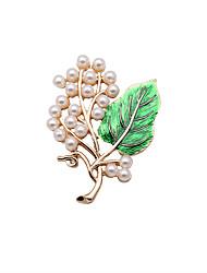 Fashion Women Elegant Pearl And Enamel Branch Metal Brooch