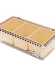 3-Zellen zufällige Farbe umweltfreundliches Gewürz-Box mit Löffel