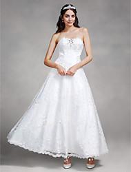 Lanting Bride® Linha A Vestido de Noiva Até o Tornozelo Tomara que Caia Renda com Com Apliques