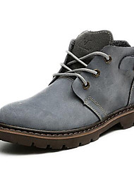 Women's Shoes Nappa Leather Flat Heel Motorcycle Boots / Combat Boots Boots Outdoor / Party & Evening / Casual Gray