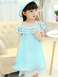 Girl's Cotton Summer Beaded Structure Fashion Chiffon Lace  Princess Dress