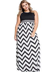 Women's  Halter Neck Zigzag Floor Length Curvy Dress