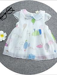 bebê Vestido,Casual Estampado Algodão Verão Branco