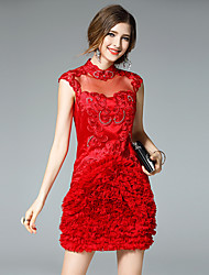 Ewheat® Women's Stand Sleeveless Above Knee Dress-H2023