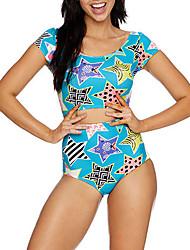 Women's Bandeau Tankini,Floral Polyester Light Blue Sexy  Beach Swimwear